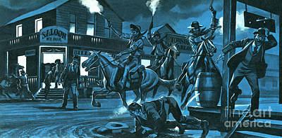 Bandit Painting - Dodge City At Night by Ron Embleton