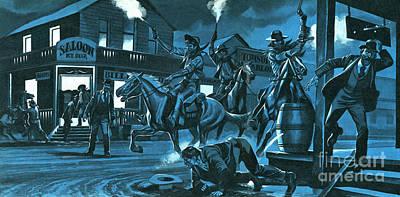 Dodge City At Night Art Print by Ron Embleton