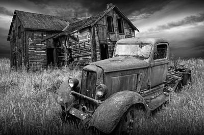 Dodge Truck And Farm House Abandoned  In The Midwest Art Print