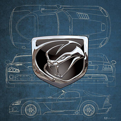 Digital Art - Dodge Viper  3 D  Badge Over Dodge Viper S R T 10 Blueprint  by Serge Averbukh