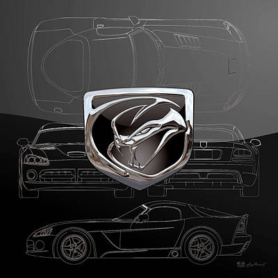 Digital Art - Dodge Viper  3 D  Badge Over Dodge Viper S R T 10 Silver Blueprint On Black Special Edition by Serge Averbukh