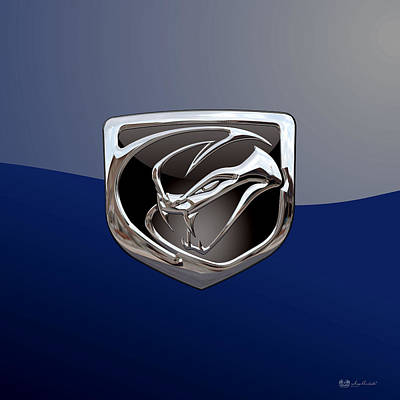 Digital Art - Dodge Viper 3 D  Badge Special Edition On Blue by Serge Averbukh