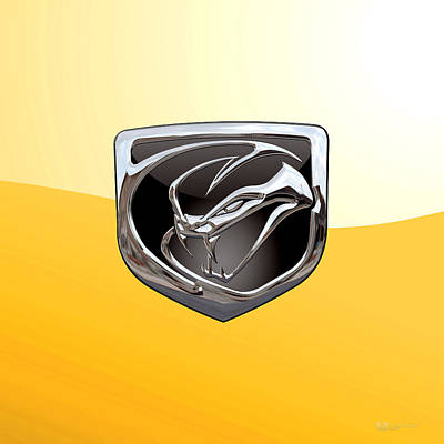 Digital Art - Dodge Viper 3 D  Badge Special Edition On Yellow by Serge Averbukh