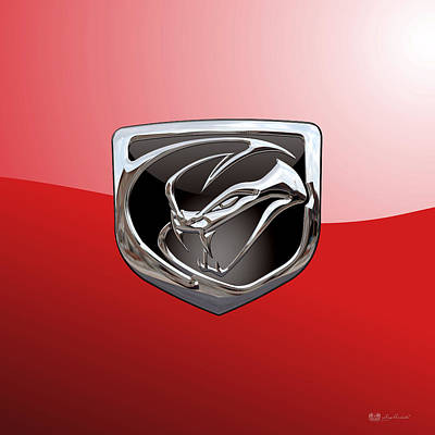Digital Art - Dodge Viper - 3d Badge On Red by Serge Averbukh
