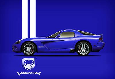 Viper Wall Art - Photograph - Dodge Viper Blue by Mark Rogan