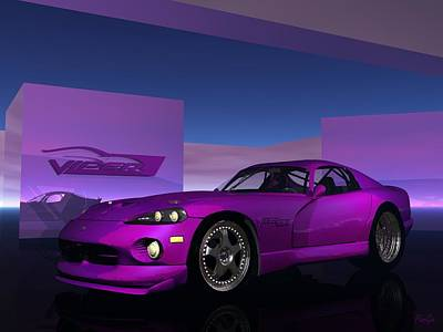Digital Art - Dodge Viper by John Pangia