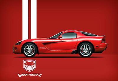 Dodge Viper Red Art Print by Mark Rogan