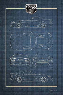 Digital Art - Dodge Viper  S R T 10  Blueprint With Dodge Viper  3 D  Badge Over by Serge Averbukh