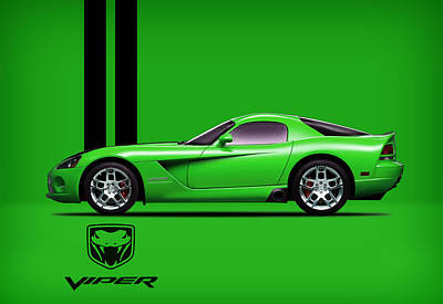 Dodge Viper Snake Green Print by Mark Rogan
