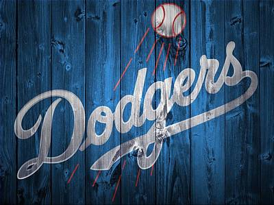 Athletes Mixed Media - Dodgers Barn Door by Dan Sproul