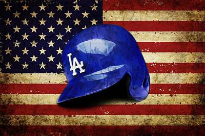 Pastime Mixed Media - Dodgers Batting Helmet by Dan Haraga