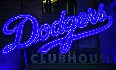 Photograph - Dodgers Clubhouse In Neon Lights by Lynn Bauer