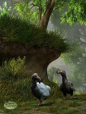 Animals Digital Art - Dodos in the Forest by Daniel Eskridge