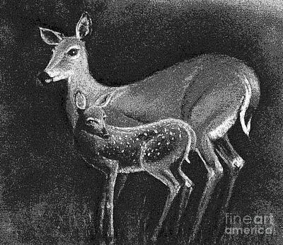 Painting - Doe And Fawn by Hazel Holland