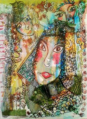 Mixed Media - Doe Eyed Girl And Her Spirit Guides by Mimulux patricia no No