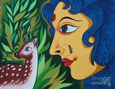 Painting - Doe-eyed by Ragunath Venkatraman