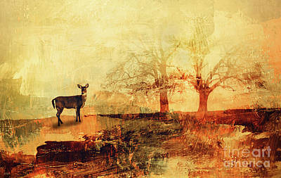 The Trees Mixed Media - Doe In The Clearing by KaFra Art
