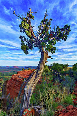 Digitally Manipulated Photograph - Doe Mountain Juniper by ABeautifulSky Photography by Bill Caldwell