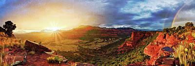 Digitally Manipulated Photograph - Doe Mountain Rainbow by ABeautifulSky Photography by Bill Caldwell