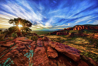 Art Print featuring the photograph Doe Mountain Sunset by ABeautifulSky Photography