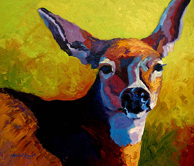 Whitetail Deer Wall Art - Painting - Doe Portrait V by Marion Rose