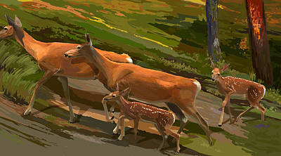 Wall Art - Painting - Does And Fawns by Pam Little