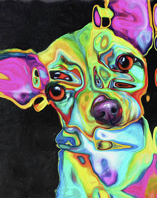Mixed Media - Dog 33 By Nixo by Nicholas Nixo