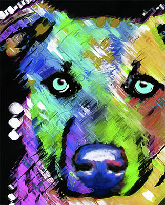 Mixed Media - Dog #5 By Nixo by Nicholas Nixo