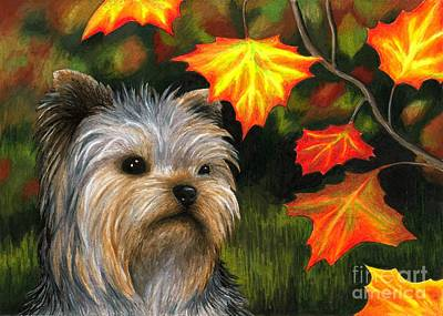 Autumn Art Drawing - Dog 78 Yorkshire by Lucie Dumas