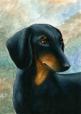 Dachshund Art Drawing - Dog 90 Dachshund by Lucie Dumas