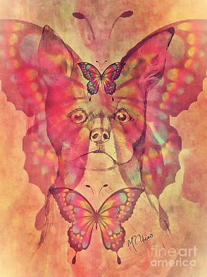 Mixed Media - Dog And Butterfly by Maria Urso