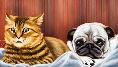 Pet Care Drawing - Dog And Cat Watching Tv by Arun Sivaprasad