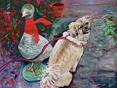 Tibetan Spaniel Painting - Dog And Duck by Linda J Bean