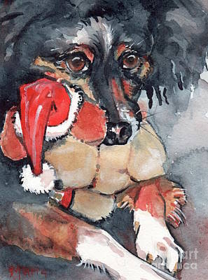 Dog And Toy Painting - Dog And Santa Puppy  by Maria's Watercolor