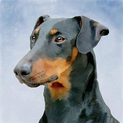 Digital Art - Dog Art Doberman Pinscher by Bamalam Photography