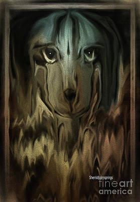 Digital Art -  Dog Art  Sad Eyes by Sherri Of Palm Springs