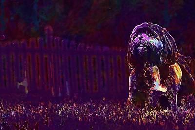 Digital Art - Dog Backyard Canine Pet Animal  by PixBreak Art
