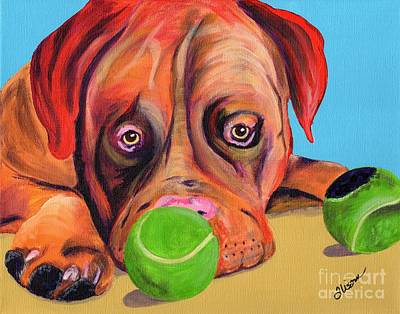 Dog With Tennis Ball Painting - Dog  Ball by Alisann Smookler