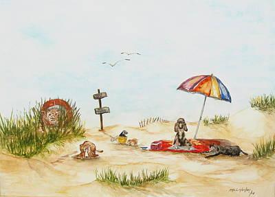 Dog Beach Art Print by Miroslaw  Chelchowski