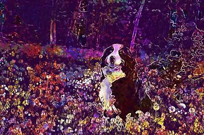 Digital Art - Dog Bernese Mountain Dog Forest  by PixBreak Art