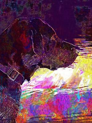 Labrador Digital Art - Dog Black Labrador Pet Black Dog  by PixBreak Art