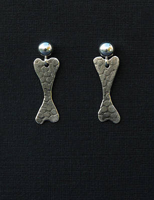 Canine Earrings Jewelry - Dog Bone Earrings  by Heather  Hamilton