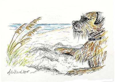 Drawing - Dog By The Sea by Deborah Willard
