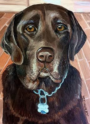 Gold Labrador Painting - Dog  Chocolate Lab   by Julie Brugh Riffey