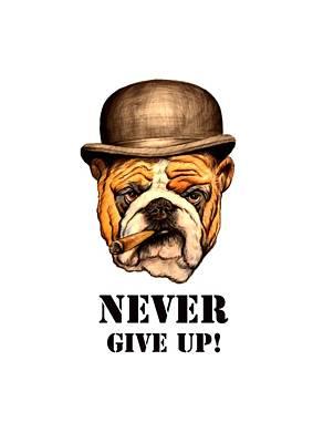 Pastel - Dog Churhill ,statement Art by Ole Hedeager Mejlvang