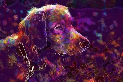 Golden Retriever Digital Art - Dog Collar Animal Golden Retriever  by PixBreak Art