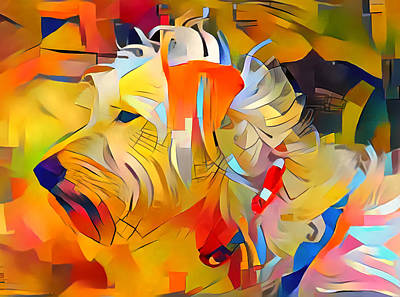 Digital Art - Dog Color Cubism by Yury Malkov