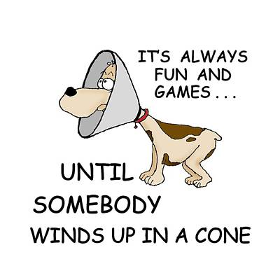 Cocker Spaniel Drawing - Dog Cone by Larry Scarborough