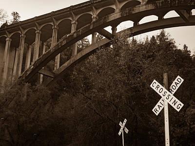 Dog Creek Bridge In Sepia Art Print by Michele James