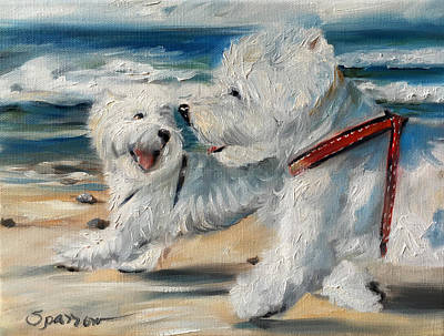 Animals Paintings - Dog Days of Summer by Mary Sparrow